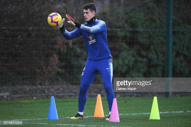 Kepa Arrizabalaga of Chelsea during a training session at Chelsea Training Ground on December 21 2018 in Cobham United Kingdom