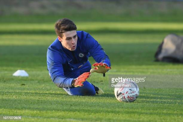 Kepa Arrizabalaga of Chelsea during a training session at Chelsea Training Ground on January 4 2019 in Cobham England