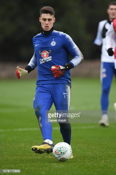 Kepa Arrizabalaga of Chelsea during a training session at Chelsea Training Ground on January 7 2019 in Cobham England