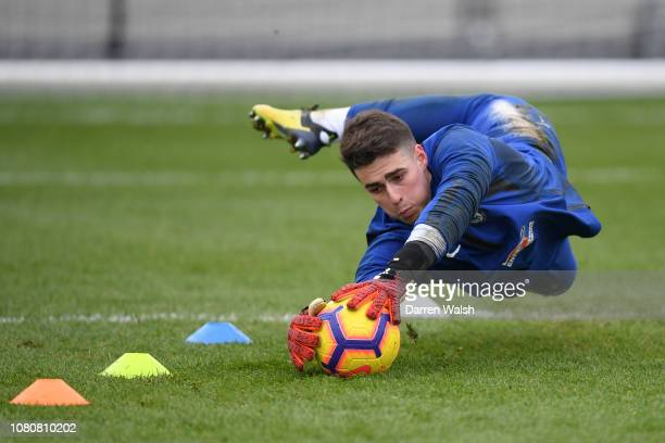Kepa Arrizabalaga of Chelsea during a training session at Chelsea Training Ground on January 11 2019 in Cobham England