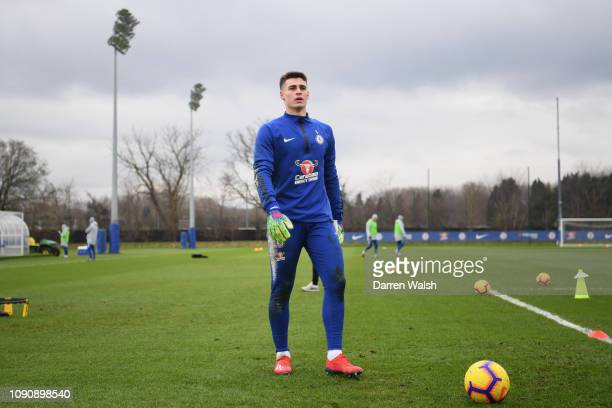 Kepa Arrizabalaga of Chelsea during a training session at Chelsea Training Ground on January 29 2019 in Cobham England