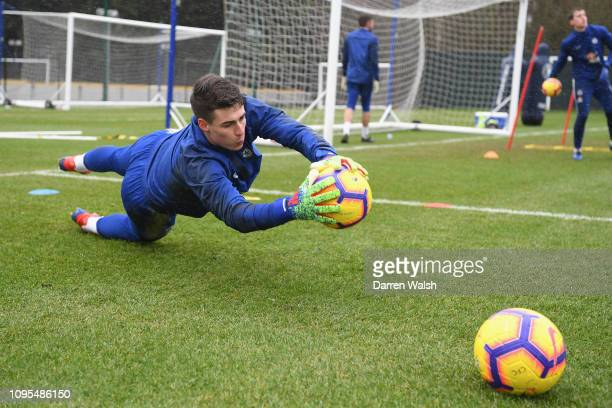 Kepa Arrizabalaga of Chelsea during a training session at Chelsea Training Ground on February 8 2019 in Cobham England