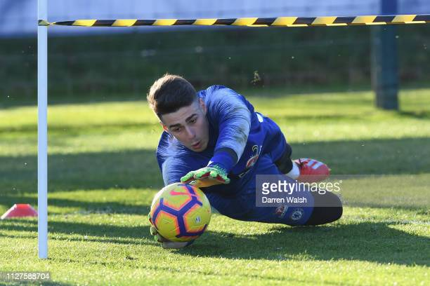 Kepa Arrizabalaga of Chelsea during a training session at Chelsea Training Ground on February 26 2019 in Cobham England
