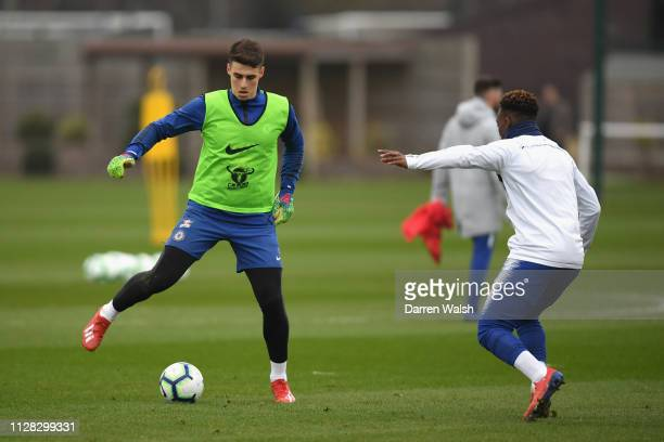 Kepa Arrizabalaga of Chelsea during a training session at Chelsea Training Ground on March 1 2019 in Cobham England