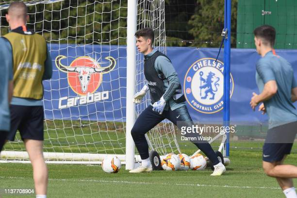 Kepa Arrizabalaga of Chelsea during a training session at Chelsea Training Ground on April 17 2019 in Cobham United Kingdom