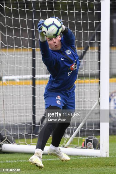 Kepa Arrizabalaga of Chelsea during a training session at Chelsea Training Ground on April 26 2019 in Cobham England