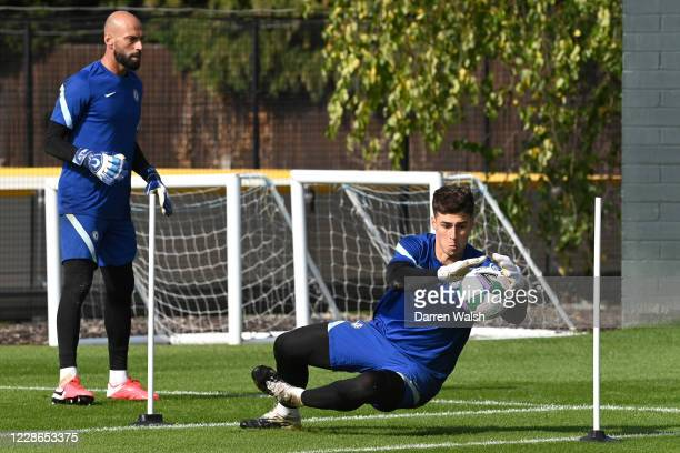 Kepa Arrizabalaga of Chelsea during a training session at Chelsea Training Ground on September 22 2020 in Cobham England