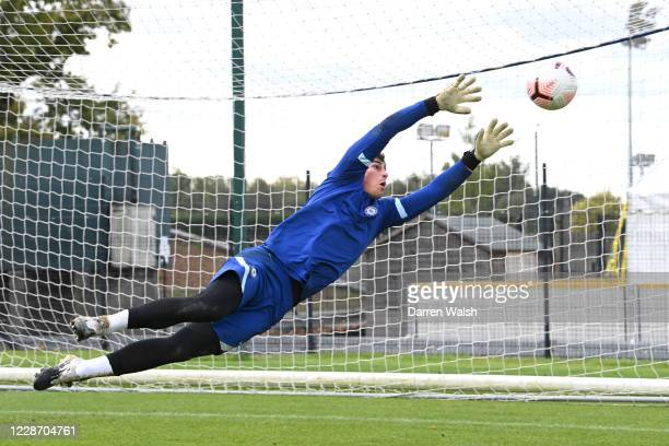 Kepa Arrizabalaga of Chelsea during a training session at Chelsea Training Ground on September 25 2020 in Cobham England