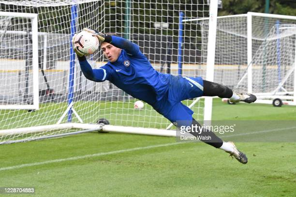 Kepa Arrizabalaga of Chelsea during a training session at Chelsea Training Ground on September 25, 2020 in Cobham, England.