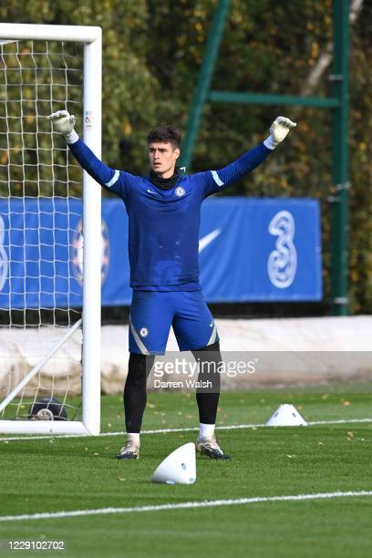 Kepa Arrizabalaga of Chelsea during a training session at Chelsea Training Ground on October 16 2020 in Cobham England