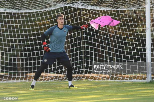 Kepa Arrizabalaga of Chelsea during a training session at Lolas Training Complex on September 19 2018 in Thessaloniki Greece