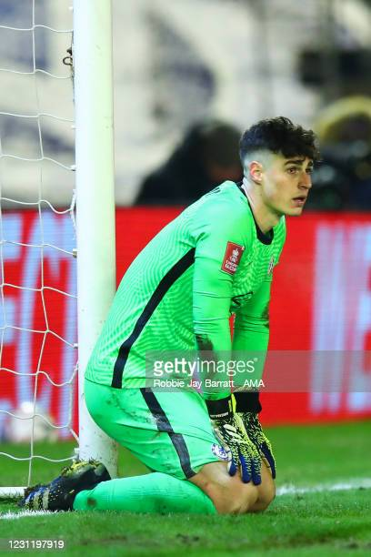 Kepa Arrizabalaga of Chelsea during The Emirates FA Cup Fifth Round match between Barnsley and Chelsea at Oakwell Stadium on February 11, 2021 in...