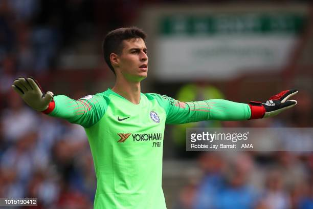 Kepa Arrizabalaga of Chelsea during the Premier League match between Huddersfield Town and Chelsea FC at John Smith's Stadium on August 11 2018 in...