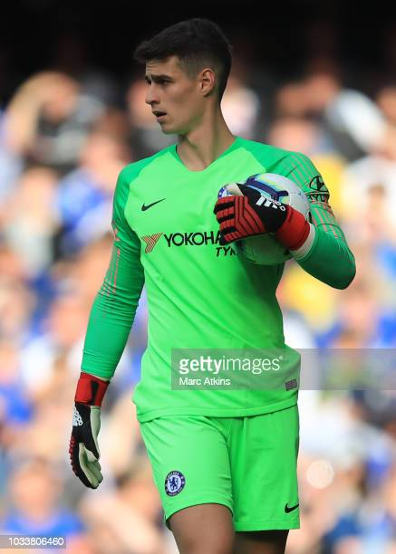 Kepa Arrizabalaga of Chelsea during the Premier League match between Chelsea FC and Cardiff City at Stamford Bridge on September 15 2018 in London...