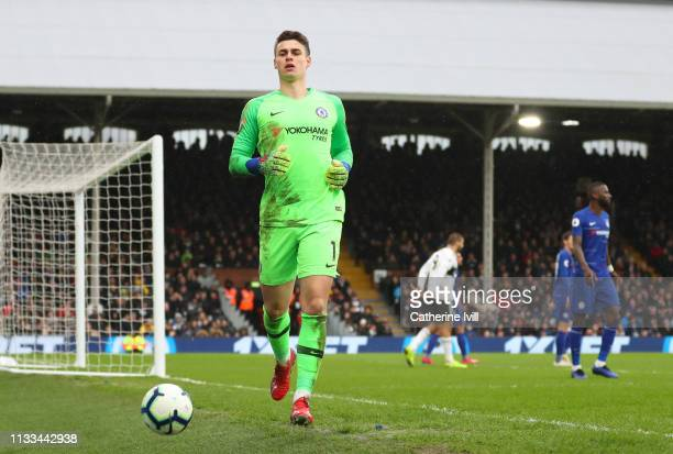 Kepa Arrizabalaga of Chelsea during the Premier League match between Fulham FC and Chelsea FC at Craven Cottage on March 03 2019 in London United...