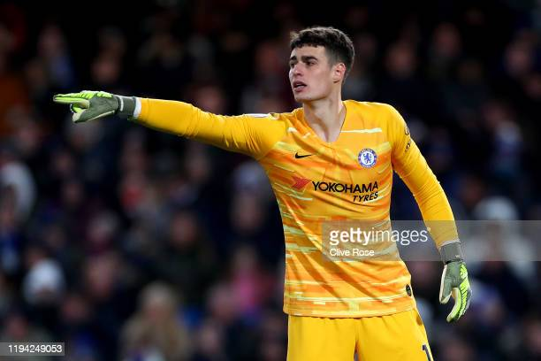 Kepa Arrizabalaga of Chelsea during the Premier League match between Chelsea FC and AFC Bournemouth at Stamford Bridge on December 14, 2019 in...
