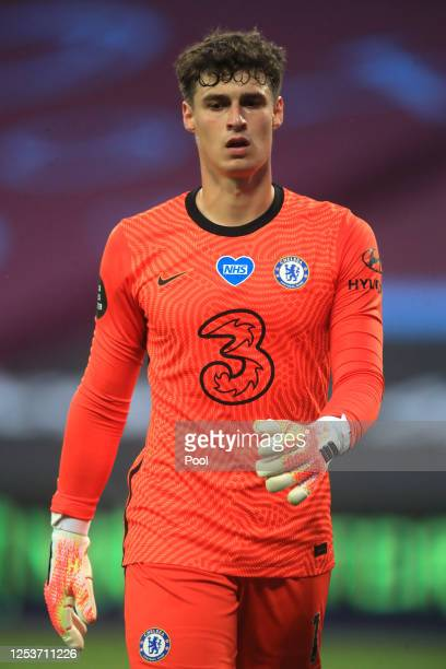 Kepa Arrizabalaga of Chelsea during the Premier League match between West Ham United and Chelsea FC at London Stadium on July 01, 2020 in London,...