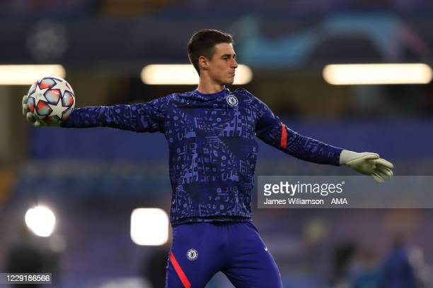 Kepa Arrizabalaga of Chelsea during the UEFA Champions League Group E stage match between Chelsea FC and FC Sevilla at Stamford Bridge on October 20...
