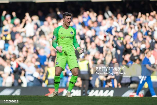 Kepa Arrizabalaga of Chelsea FC celebrate his team's 2nd goal during during the Premier League match between Chelsea FC and Manchester United at...