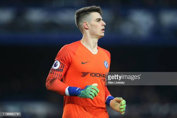 Kepa Arrizabalaga of Chelsea FC looks on during the Premier League match between Everton FC and Chelsea FC at Goodison Park on March 17 2019 in...