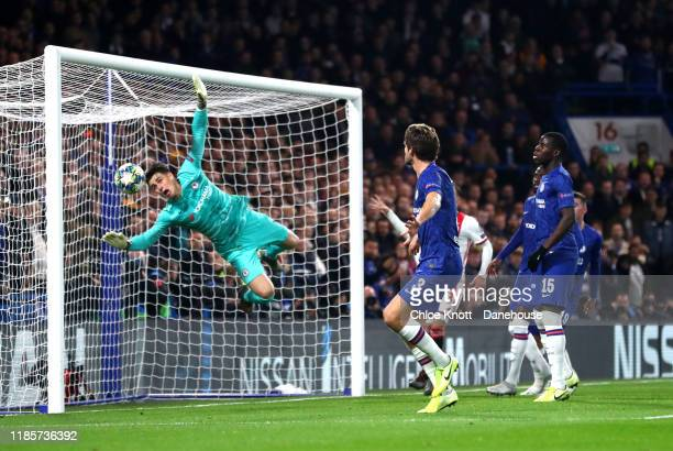Kepa Arrizabalaga of Chelsea FC scores an own goal during the UEFA Champions League group H match between Chelsea FC and AFC Ajax at Stamford Bridge...