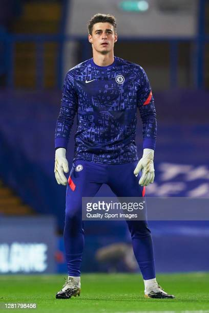 Kepa Arrizabalaga of Chelsea FC warms up prior to the UEFA Champions League Group E stage match between Chelsea FC and Sevilla FC at Stamford Bridge...