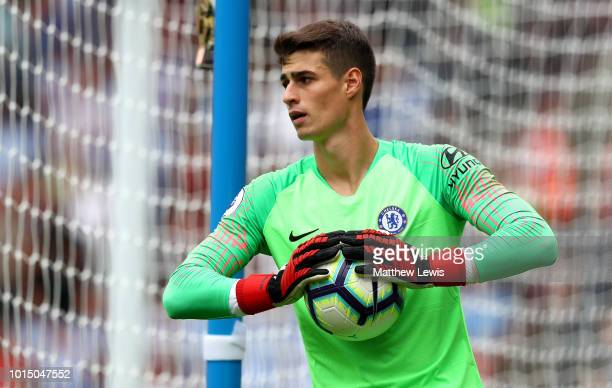 Kepa Arrizabalaga of Chelsea gathers the ball during the Premier League match between Huddersfield Town and Chelsea FC at John Smith's Stadium on...