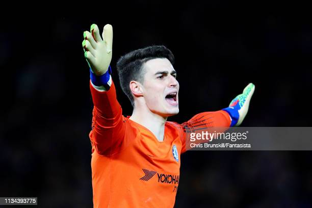 Kepa Arrizabalaga of Chelsea gestures during the UEFA Europa League Round of 16 First Leg match between Chelsea and Dynamo Kyiv at Stamford Bridge on...
