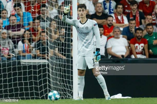 Kepa Arrizabalaga of Chelsea gestures during the UEFA Super Cup match between Liverpool and Chelsea on August 14 2019 at Besiktas Park in Istanbul...