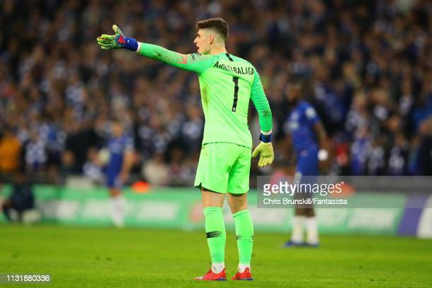 Kepa Arrizabalaga of Chelsea gestures to the bench during the Carabao Cup Final between Chelsea and Manchester City at Wembley Stadium on February 24...