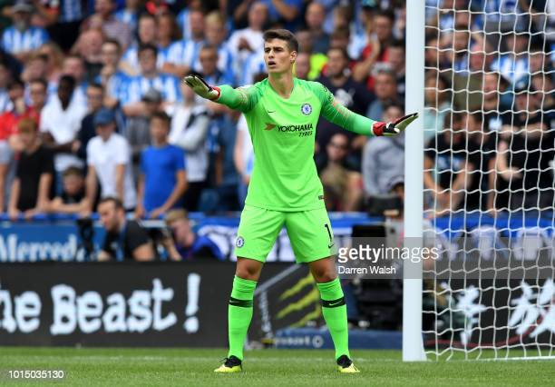 Kepa Arrizabalaga of Chelsea gives his team instructions during the Premier League match between Huddersfield Town and Chelsea FC at John Smith's...