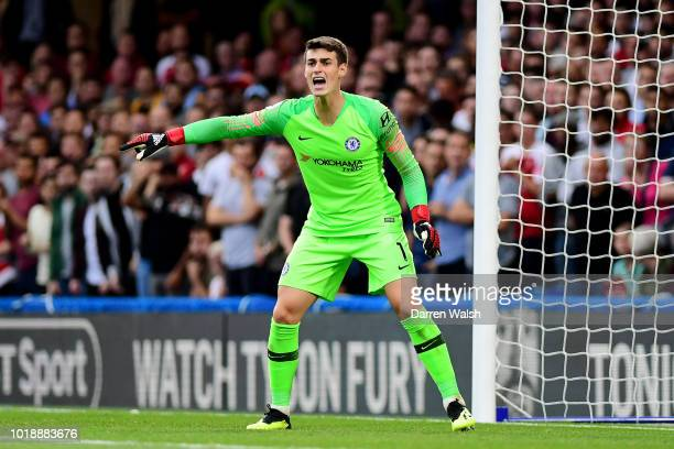 Kepa Arrizabalaga of Chelsea gives his team instructions during the Premier League match between Chelsea FC and Arsenal FC at Stamford Bridge on...