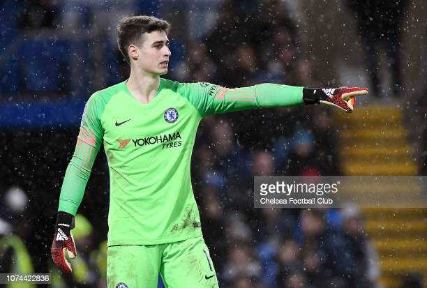 Kepa Arrizabalaga of Chelsea gives his team instructions during the Carabao Cup Quarter Final match between Chelsea and AFC Bournemouth at Stamford...