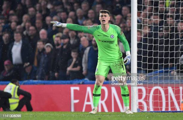 Kepa Arrizabalaga of Chelsea gives his team instructions during the Premier League match between Chelsea FC and West Ham United at Stamford Bridge on...