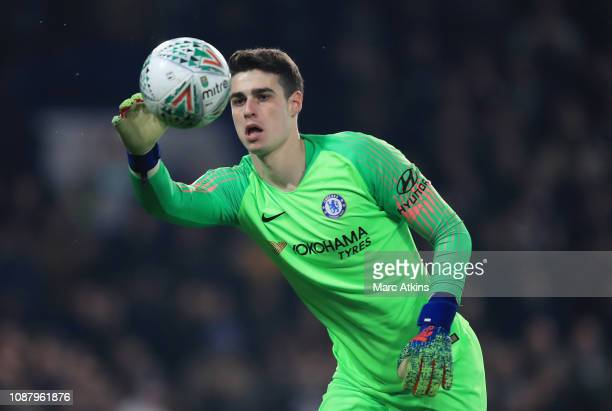 Kepa Arrizabalaga of Chelsea in action during the Carabao Cup SemiFinal Second Leg match between Chelsea and Tottenham Hotspur at Stamford Bridge on...