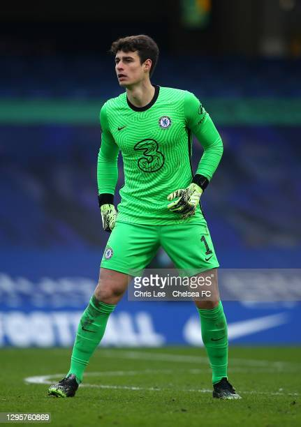 Kepa Arrizabalaga of Chelsea in action during the FA Cup Third Round match between Chelsea and Morecambe at Stamford Bridge on January 10, 2021 in...