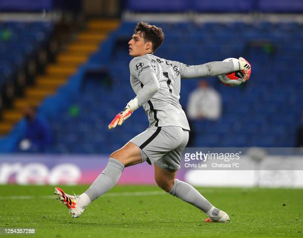 Kepa Arrizabalaga of Chelsea in action during the Premier League match between Chelsea FC and Watford FC at Stamford Bridge on July 04 2020 in London...