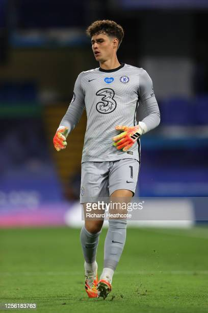 Kepa Arrizabalaga of Chelsea in action during the Premier League match between Chelsea FC and Norwich City at Stamford Bridge on July 14, 2020 in...
