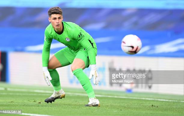 Kepa Arrizabalaga of Chelsea in action during the Premier League match between Chelsea and Liverpool at Stamford Bridge on September 20, 2020 in...