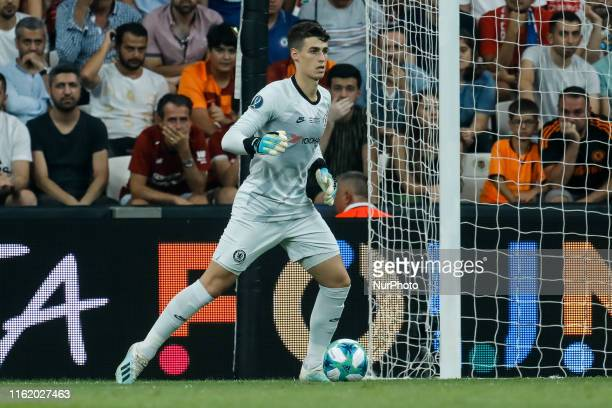 Kepa Arrizabalaga of Chelsea in action during the UEFA Super Cup match between Liverpool and Chelsea on August 14 2019 at Besiktas Park in Istanbul...