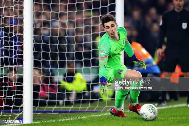 Kepa Arrizabalaga of Chelsea in action in the penalty shootout during the Carabao Cup SemiFinal Second Leg match between Chelsea and Tottenham...