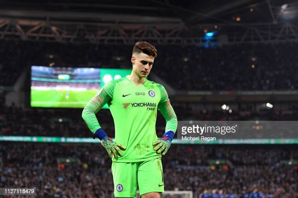 Kepa Arrizabalaga of Chelsea looks dejected following the Carabao Cup Final between Chelsea and Manchester City at Wembley Stadium on February 24...