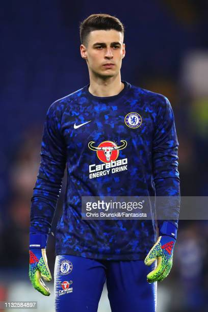 Kepa Arrizabalaga of Chelsea looks on aeahd of the Premier League match between Chelsea FC and Tottenham Hotspur at Stamford Bridge on February 27...