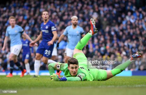 Kepa Arrizabalaga of Chelsea looks on after failing to stop a shot from Ilkay Gundogan of Manchester City for Manchester City's fourth goal during...