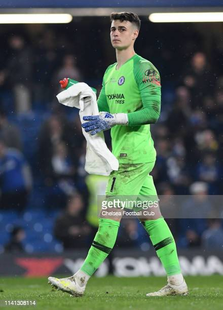 Kepa Arrizabalaga of Chelsea looks on after the Premier League match between Chelsea FC and West Ham United at Stamford Bridge on April 08 2019 in...