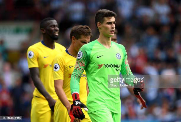 Kepa Arrizabalaga of Chelsea looks on during the Premier League match between Huddersfield Town and Chelsea FC at John Smith's Stadium on August 11...