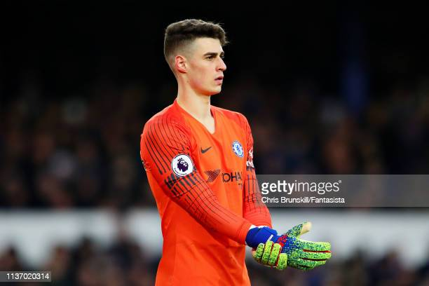 Kepa Arrizabalaga of Chelsea looks on during the Premier League match between Everton FC and Chelsea FC at Goodison Park on March 17 2019 in...