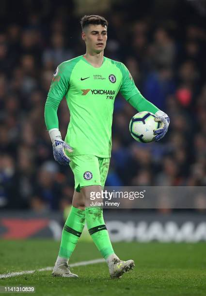 Kepa Arrizabalaga of Chelsea looks on during the Premier League match between Chelsea FC and West Ham United at Stamford Bridge on April 08 2019 in...