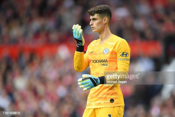 Kepa Arrizabalaga of Chelsea looks on during the Premier League match between Manchester United and Chelsea FC at Old Trafford on August 11 2019 in...