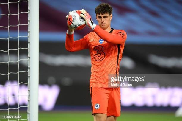 Kepa Arrizabalaga of Chelsea looks on during the Premier League match between West Ham United and Chelsea FC at London Stadium on July 01, 2020 in...